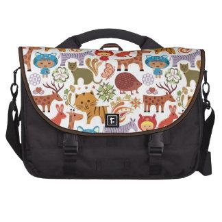 Teste padrão abstrato da criança e dos animais bolsa para notebook
