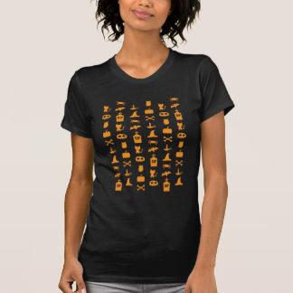 Teste padrão alaranjado chique do Dia das Bruxas T-shirt