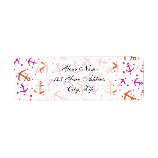 Teste padrão alaranjado cor-de-rosa de néon etiqueta endereço de retorno