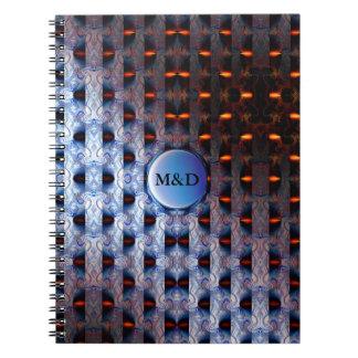 Teste padrão alaranjado e azul caderno espiral