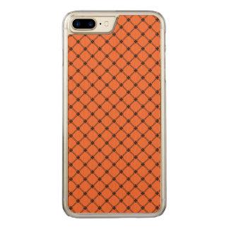 Teste padrão alaranjado e preto do Dia das Bruxas Capa iPhone 8 Plus/ 7 Plus Carved
