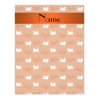 Teste padrão alaranjado queimado nome personalizad panfleto personalizado