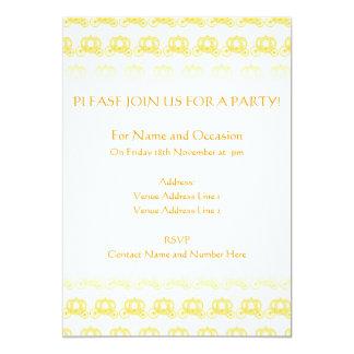Teste padrão amarelo da princesa Carruagem Convites Personalizados