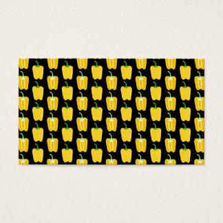 Teste padrão amarelo das pimentas. No preto Cartão De Visitas