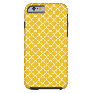 Teste padrão amarelo de Quatrefoil Capa Tough Para iPhone 6