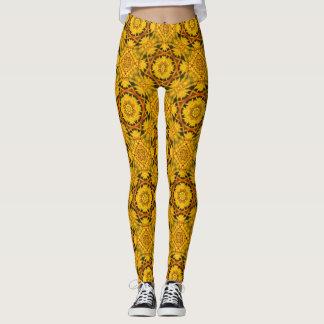 Teste padrão amarelo do abstrato da flor da leggings