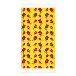 teste padrão amarelo do assado cartoes com foto