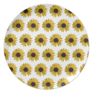 Teste padrão amarelo do girassol prato de festa