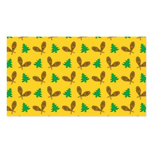 teste padrão amarelo do sapato de neve cartões de visita