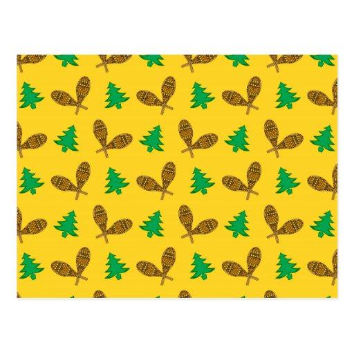 teste padrão amarelo do sapato de neve cartões postais