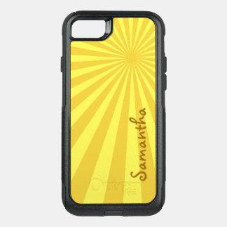 Teste padrão amarelo do Sunburst com seu nome: Capa iPhone 7 Commuter OtterBox