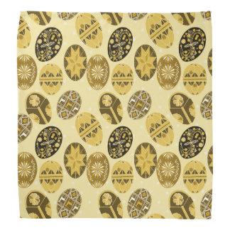 Teste padrão amarelo dos ovos da páscoa ucranianos faixas para cabeça