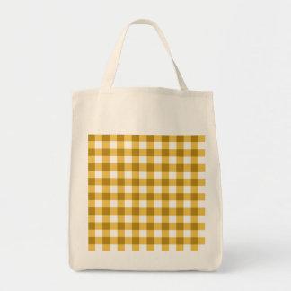 Teste padrão amarelo e branco da verificação do sacola tote de mercado