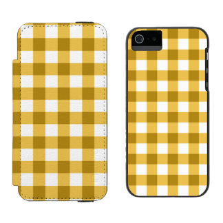 Teste padrão amarelo e branco da verificação do capa carteira incipio watson™ para iPhone 5