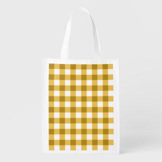 Teste padrão amarelo e branco da verificação do sacola ecológica para supermercado