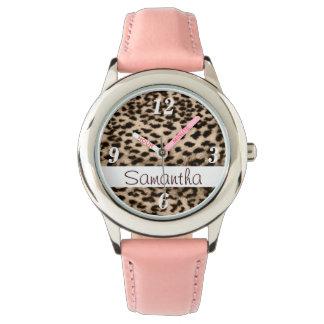 Teste padrão animal, marrom, rosa, monograma relógio