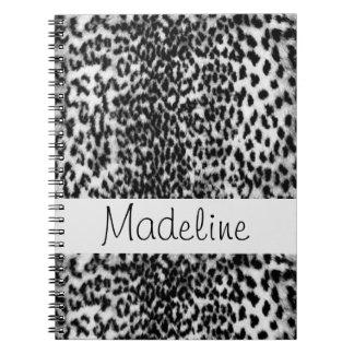 Teste padrão animal, preto, branco, monograma cadernos