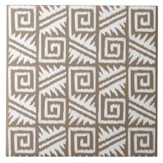 Teste padrão asteca de Ikat - Taupe Tan e creme