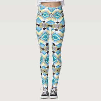 Teste padrão asteca geométrico azul legging