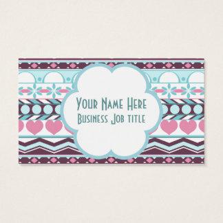 Teste padrão asteca listrado azul e cor-de-rosa cartão de visitas