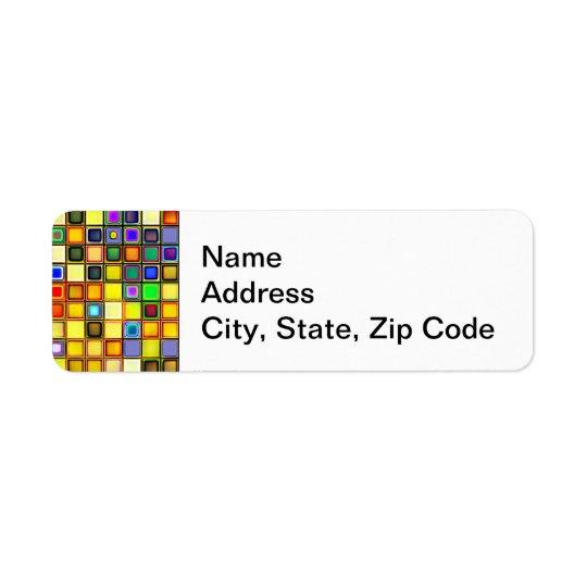 Teste padrão azul amarelo e legal abrasador dos az etiqueta endereço de retorno