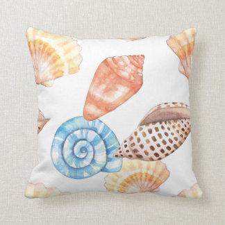 Teste padrão azul & bege dos Seashells Almofada