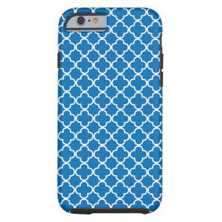 Teste padrão azul brilhante de Quatrefoil Capa Tough Para iPhone 6