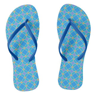 Teste padrão azul chinelos