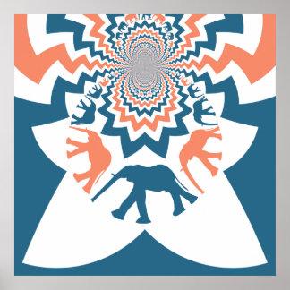 Teste padrão azul coral de passeio louco de Chevro Poster