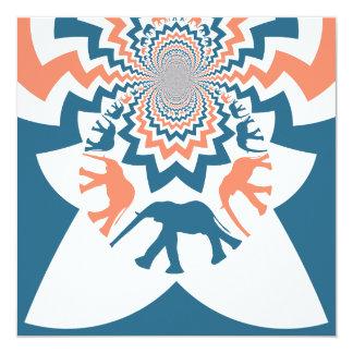 Teste padrão azul coral de passeio louco de convite quadrado 13.35 x 13.35cm