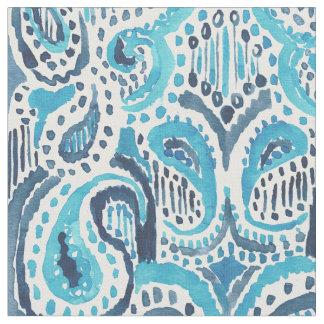 Teste padrão azul da aguarela de PAISLEY Ikat do Tecido