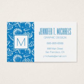 Teste padrão azul da praia do monograma cartão de visitas