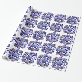 Teste padrão azul de Delft Delftware Holland do Papel De Presente