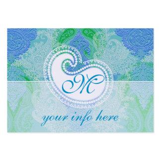 Teste padrão azul de paisley do aqua do calendário cartão de visita grande