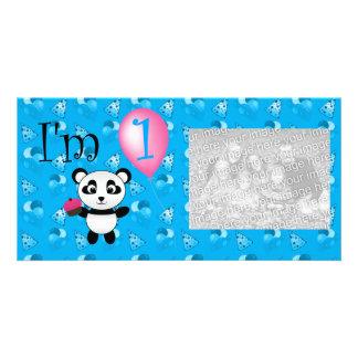 Teste padrão azul do aniversário da panda do prime cartao com foto personalizado