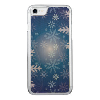 Teste padrão azul do Natal do floco de neve Capa iPhone 7 Carved