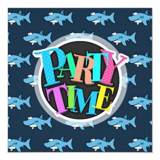 Teste padrão azul do tubarão dos desenhos animados convite quadrado 13.35 x 13.35cm