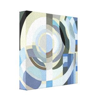 Teste padrão azul dos círculos do vintage retro do impressão de canvas envolvida