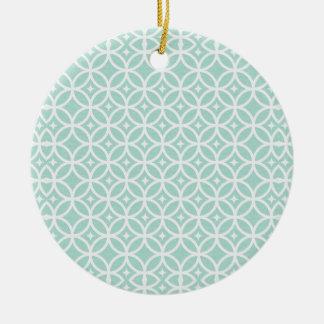 Teste padrão azul e branco da luz - do círculo e ornamento de cerâmica redondo
