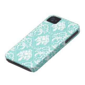 Teste padrão azul e branco do Aqua de Damasked Capinha iPhone 4