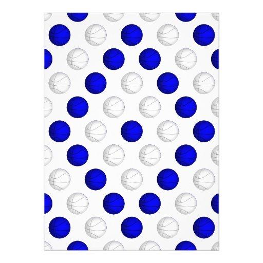 Teste padrão azul e branco do basquetebol convite personalizado