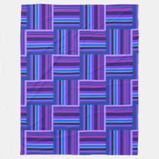 Teste padrão azul e roxo do weave das listras cobertor de lã