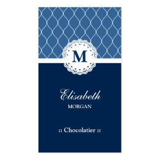 Teste padrão azul elegante do laço de Chocolatier Cartão De Visita