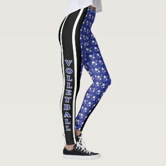 Teste padrão azul escuro, branco e preto do leggings