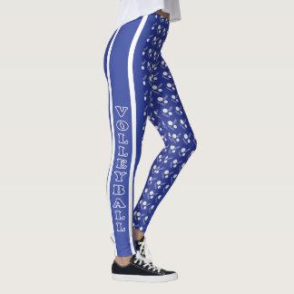 Teste padrão azul escuro e branco do voleibol leggings