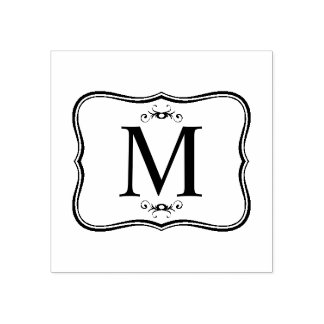 Teste padrão azul escuro - o monograma elegante carimbo de borracha