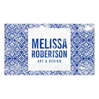 Teste padrão azul Mão-Carimbado para o artista, Cartão De Visita