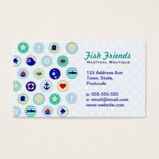 Teste padrão azul náutico do marinheiro cartão de visitas