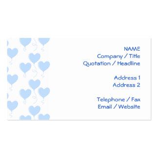Teste padrão azul Pastel do balão do coração Cartão De Visita