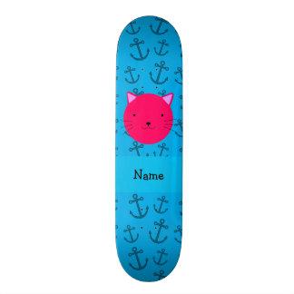 Teste padrão azul personalizado das âncoras do gat shape de skate 18,4cm